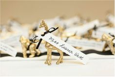 Gold Animal Place Card or Escort Card holders (set of via Etsy Wedding Places, Wedding Place Cards, Wedding Table, Diy Wedding, Wedding Ideas, Card Wedding, Glitter Wedding, Gold Glitter, Seating Chart Wedding