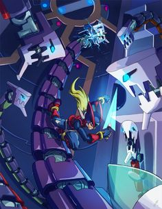 MegaMan Zero vs Orotic Guard by ~Jeffadam on deviantART