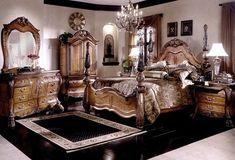 Dormitorio con muebles de madera tallada.