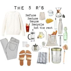 Zero Waste Aesthetic by solarpunkartist on Polyvore featuring Diesel, Current/Elliott, Isapera, Baxter of California, Crate and Barrel, Bodum, S'well, Kilner, Sur La Table and Redecker