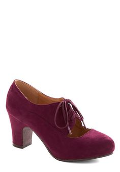 Just Genius Heel by Chelsea Crew - Solid, Cutout, Work, Lace Up, Mid, Faux Leather, Purple