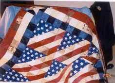 "GLORY IN SCRAPS. Easy to put together patriotic quilt. Makes 12"" block. All half square triangles. Very nice!"