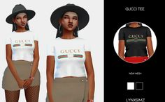 GUCCI TOP for The Sims 4 Sims 4 Cas, My Sims, Sims Cc, Gucci Tee, Gucci Shirts, Sims Mods, Mini Pizzas, Disney Family, Sims 4 Traits