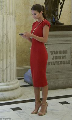 Slip into a Victoria Beckham sheath dress like Emily. Click 'Visit' to buy now. #DailyMail