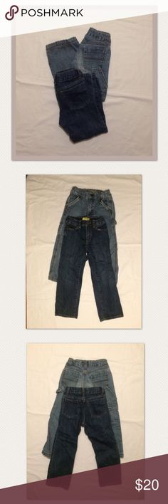 Set of 2 toddler boys Old Navy jeans Set of 2 toddler boy's Old Navy jeans size 5t. Great condition! The dark pair were worn only once. The lighter pair were worn a few times and a bit more worn in, but are still in good condition for wear! Both feature an adjustable waistband for comfort and fit. Old Navy Bottoms Jeans