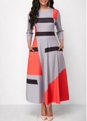 Pocket Three Quarter Sleeve Printed Maxi Dress