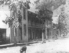 Street scene in Grundy, VA, county seat of Buchanan County, turn of 20th century.