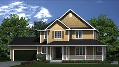 "TBM2125 House Plan  Special Features:  Impressive multi-dimensional façade, portico-style wrap around porch, main floor laundry, and separate sleeping area on the second floor, with all bedrooms including walk-in closets. Main Floor: Recessed 5'-9"" x 6'-8"" entry with closet space, with corridor leading to 14'-4"" x 18'-3"" great room having openings to 14'-3"" x 19'-8"" kitchen / nook, and 13'-8"" x 13'-8"" dining room."