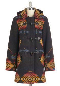 Pendleton Summit Sunrise Coat. Marvel at the colorful horizon in this Southwest-inspired wool coat from Pendleton! #blue #modcloth