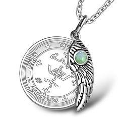 Erzengel Michael Siegel Amulett Magic Befugnisse Angel Wing Halskette grün Quarz Anhänger 18 Zoll | Fruugo