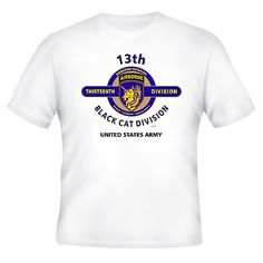 "13TH AIRBORNE DIVISION ""BLACK CAT DIVISION"" EMBLEM WHITE SHIRT (DESIGN ON FRONT"