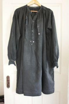 Antique French Biaude Work shirt blouse Indigo blue country clothing smock old