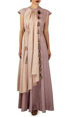Linen-Satin Layered Long kurti with brilliant detailing and embellishments. Latest Kurta Designs, Cotton Gowns, Kurti Patterns, Dress Neck Designs, Draped Dress, Indian Designer Wear, Draping, Pakistani Dresses, Boho Outfits