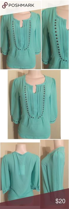 """Sheinside Turquoise Studded Neckline Tunic Blouse Size: Small New with tags 100% Polyester All measurements are taken laying flat and are not doubled Chest 17"""" Length 25"""" SHEINSIDE Tops Blouses"""