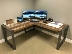 Diy Office Desk, Home Office Setup, Home Office Design, House Design, Computer Desk Organization, Diy Furniture Projects, Home Projects, Home Furniture, Bedroom Setup