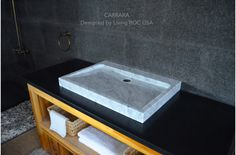 "27"" White Marble bathroom Trough Sink - CARRARA"