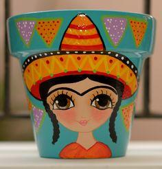 Imagen relacionada Ceramic Pots, Terracotta Pots, Clay Pots, Cute Crafts, Diy And Crafts, Arts And Crafts, Painted Flower Pots, Painted Pots, Flower Pot Art