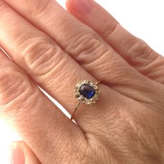 $395 Vintage Sapphire and Diamond Halo Engagement Ring by BrocktonGems