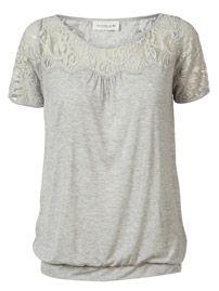 T-shirt with Lace // light grey melange