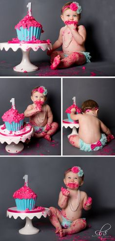 1 year old birthday shoots // Pretty Perfect Living First Birthday Shoot- Baby Girl- 1 Year Old- Cake Smash http://www.LisaSilvaPhoto.com