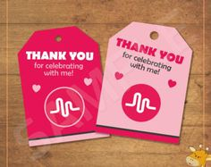 Musical.ly thank you tags for birthday party, musicly party, musicly thank you tags, pink birthday tags - instant download