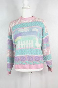 Vintage-Rose-Sweater-Pastel-Fairy-Kei-Farm-Duck-Goose-Metallic-Kawaii-Cute-O02
