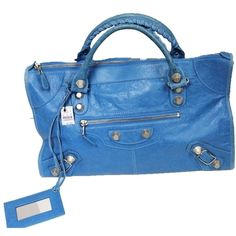 Pre-owned Balenciaga Lambskin Gaint 12 City Blue Tote Bag ($1,429) ❤ liked on Polyvore featuring bags, handbags, tote bags, blue, studded tote bag, studded handbags, balenciaga tote, blue purse and blue handbags