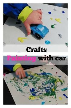 Verven met auto's voor peuters – Mamaliefde.nl DIY Crafts: Painting with cars and toddlers – Mamaliefde. Toddler Art, Toddler Preschool, Toddler Crafts, Preschool Crafts, Transportation Activities, Early Childhood Activities, Art Activities For Toddlers, Paper Plate Crafts For Kids, Special Kids