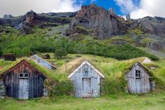 scandinvian [Iceland?] wooden houses with grass roofs via NewBuildingBlocks