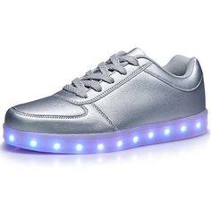 Silber Leuchtende Schuhe Nubuk Damen Light Up Trainers, Most Comfortable  Shoes, Ava, Glow e58864039b
