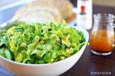 Maroulosalata is an authentic Greek salad made with romaine lettuce and tossed in a dressing made of olive oil, red wine vinegar, and rigani. Healthy Salads, Healthy Recipes, Romaine Salad, English Cucumber, Greek Salad, How To Make Salad, Salad Dressing, Lettuce, Tossed