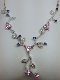 STUNNING STERLING SILVER NECKLACE/PENDANT W PINK, BLUE AND CLEAR CUBIC ZIRCONIA #Pendant