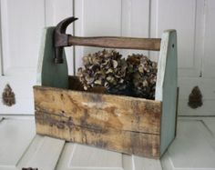 Rustic Chic Aqua Wood Tote with Hammer Handle for Garden or Home