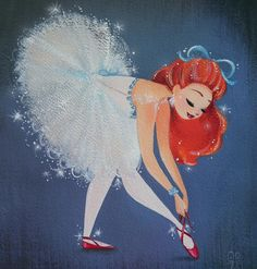 The Red Shoes  Original painting is sold and prints available in my Etsy shop. #TheRedShoes #gouache #ballerina