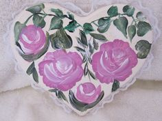 Hand painted Heart with painted roses free shipping