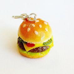 Handmade Cheeseburger Charm  Polymer Clay by CakeryBakeryCharms