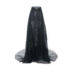 Alberta Ferretti Silk Organdi A-Line Skirt ($10,550) ❤ liked on Polyvore featuring skirts, high waisted knee length skirt, high-waisted skirts, high-waist skirt, alberta ferretti and silk skirt
