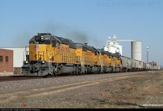Roughly 160 trains go through Grand Island every day.Net Photo: UP 1577 Union Pacific EMD at Grand Island, Nebraska by Allen Robertson Union Pacific Railroad, Grand Island, Nebraska, Trains, Iron, Horses, Building, Buildings, Horse