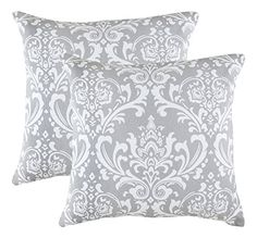 TreeWool 2 Pack Throw Pillow Covers Damask Accent in Cotton Canvas 18 x 18 Inches; Silver Grey -- See this great product. (This is an affiliate link) Silver Cushions, Pink Cushions, Cushions On Sofa, Toss Pillows, Throw Pillow Covers, Accent Pillows, Bed Pillows, Decorative Pillow Cases, Decorative Throw Pillows