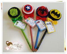 Lápis Com Ponteiras de Super Heróis