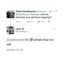 Liam tweeted and said that he was 100 percent certain that One Direction would get back together!!
