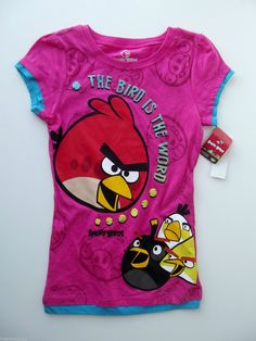 """Angry Birds Girls """"The Bird Is The Word"""" Graphic T Shirt Size Large eBay"""