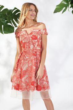Kira Embrodered Mesh Floral Orange Dress Orange Dress, Mesh Dress, Spring Summer 2018, Shoulder Dress, Floral, Dresses, Fashion, Party Dresses, Vestidos