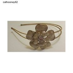 Jeweled Headband Gold Tone Gold Color Trim Beige Flower Clear Crystal Center