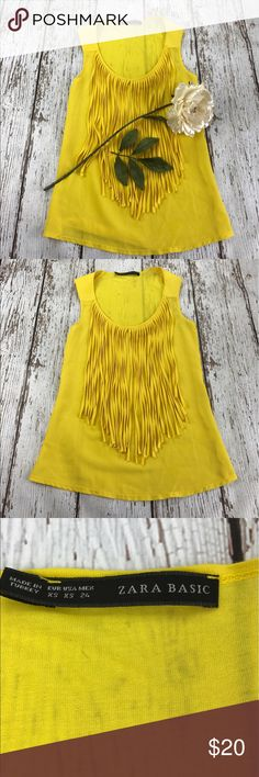 💕SALE💕Zara Basic Yellow Fringe Top Gorgeous 💕Zara Basic Yellow Fringe Top Zara Tops
