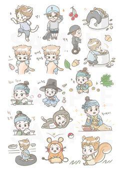 (4) Twitter Exo Stickers, Tumblr Stickers, Kawaii Stickers, Cute Stickers, Nct Logo, Exo Cartoon, Exo Anime, Xiuchen, Exo Fan Art