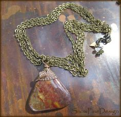 Triangular Brass Wrapped Bloodstone Pendant Necklace   Bronze, March, March Birthstone, Green by SnowPineDesign on Etsy