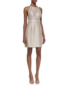 Sleeveless Metallic Halter Cocktail Dress, Pink/Multicolor by Phoebe by Kay Unger at Neiman Marcus.