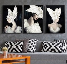 Nordic Art, Nordic Style, 3 Piece Canvas Art, Canvas Wall Art, Canvas Poster, Poster Prints, Feather Wall Art, Art Wall Kids, Pictures To Paint