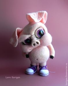 Buy Pig in sneakers. Cream, the bad guy Needle Felted Animals, Crochet Animals, Felt Animals, Baby Animals, Cute Animals, Wet Felting, Needle Felting, 3d Figures, This Little Piggy